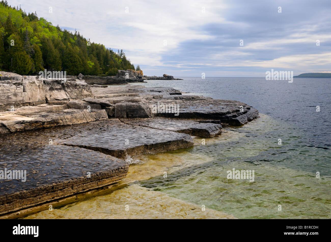 Niagara Escarpment estantes de piedra caliza en la orilla de la Maceta Isla Península de Bruce en Ontario Foto de stock