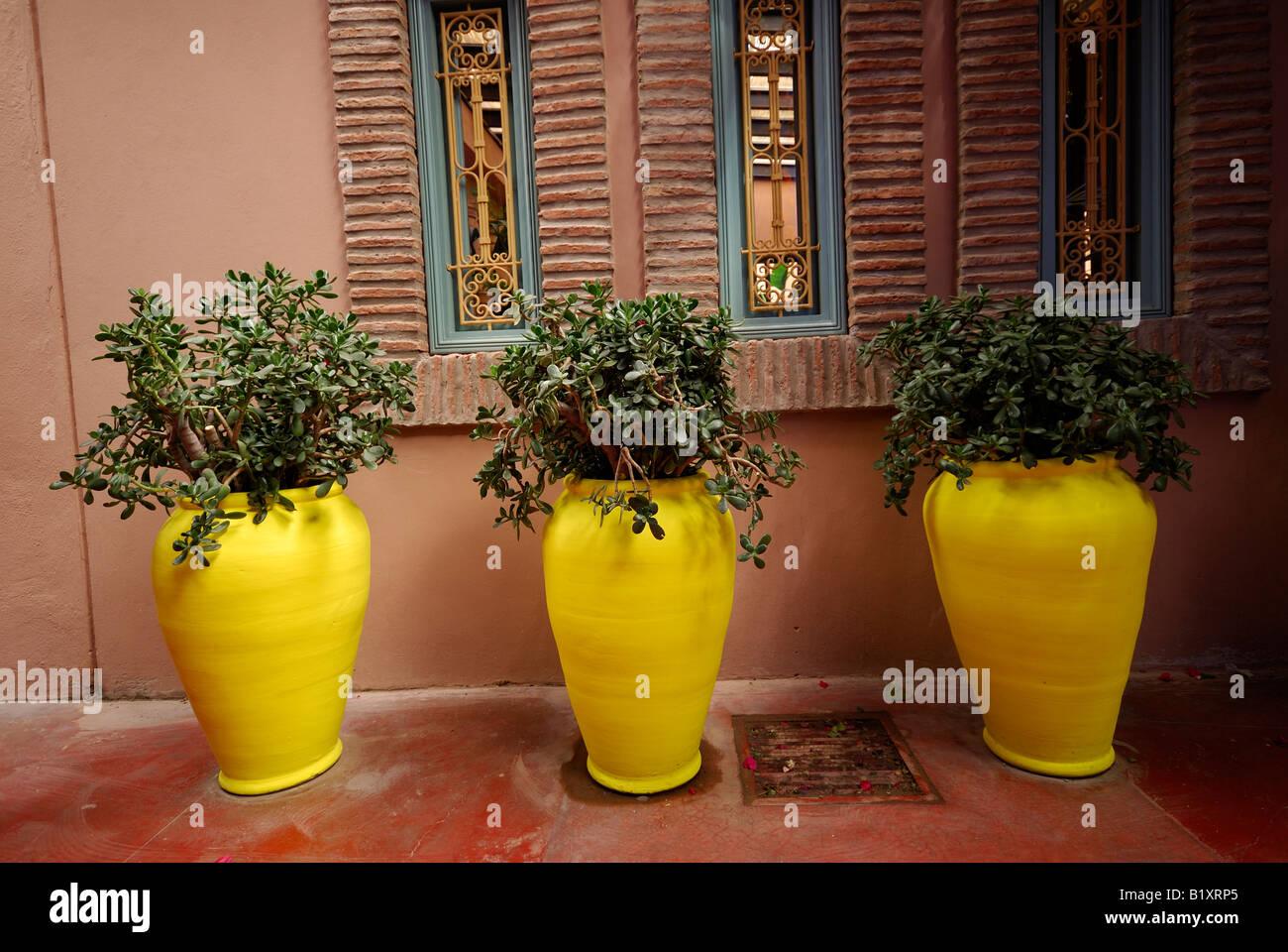 3 contenedores amarillos, Marrakech Imagen De Stock