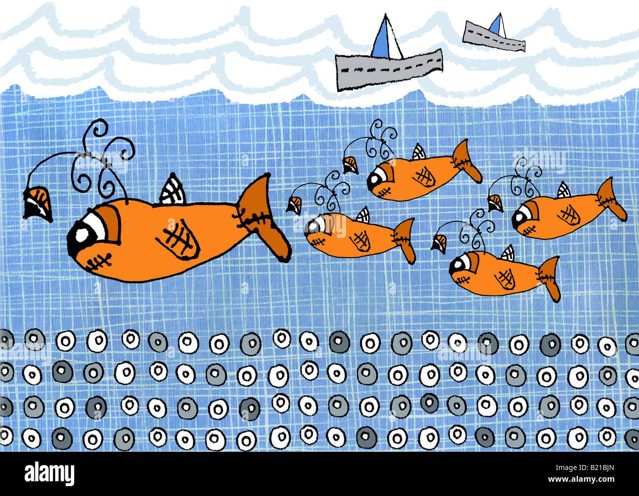 Los niños del estilo de ilustraciones de peces que nadan en el mar Imagen De Stock