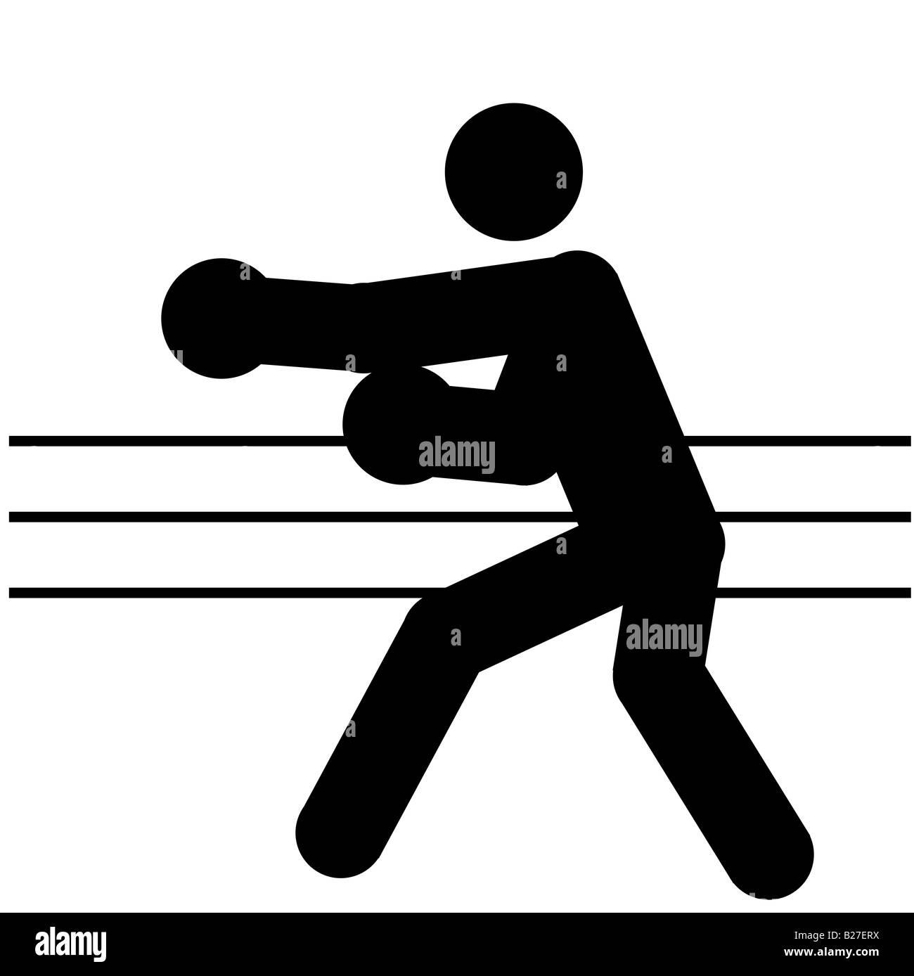 Logotipo de boxe, la silueta de un hombre negro Foto de stock