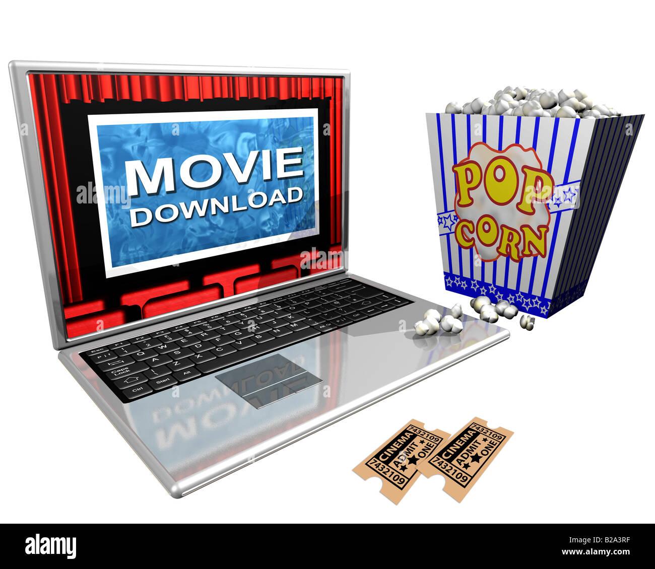 Ilustración aislada de un portátil y un balde de palomitas retratando a descargas de películas a Imagen De Stock