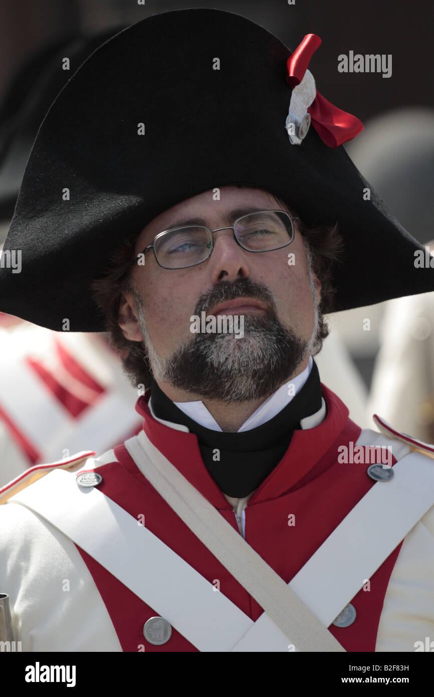 Un miembro de las fuerzas españolas durante el año 1797 la representación de la batalla de Santa Cruz, Santa Cruz de Tenerife Foto de stock