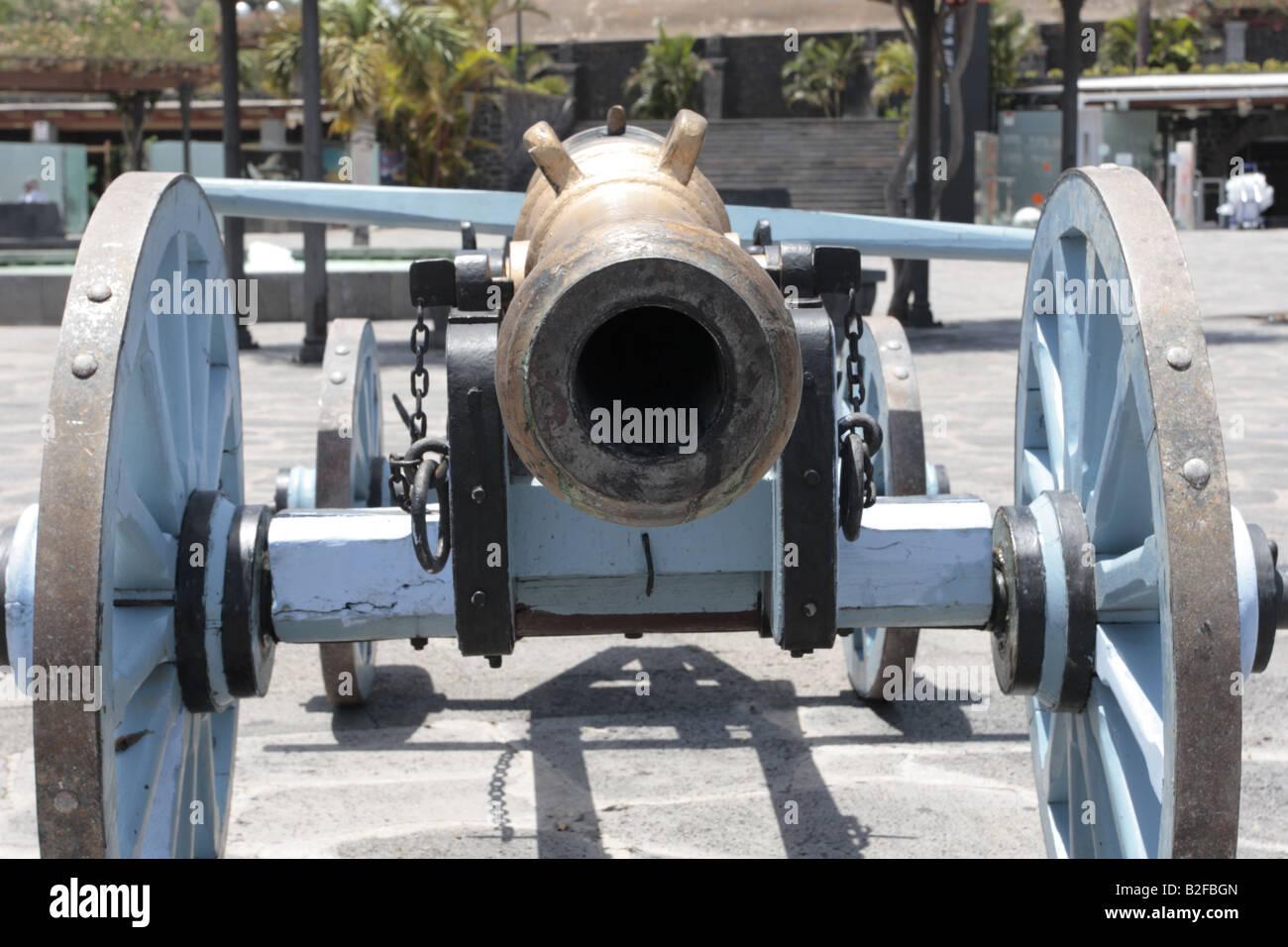 Un cañón en una recreación de la batalla de Santa Cruz 1797 entre Nelson y Guttierez, Tenerife Foto de stock