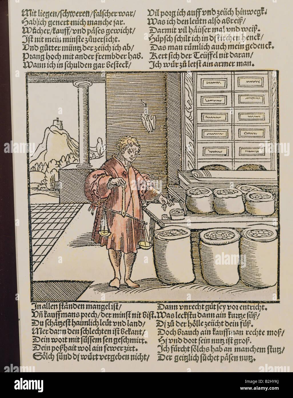 El comercio, los comerciantes, 'Der betruegerische Kaufmann' (el comerciante falaz) de 'Der Teutsch Imagen De Stock