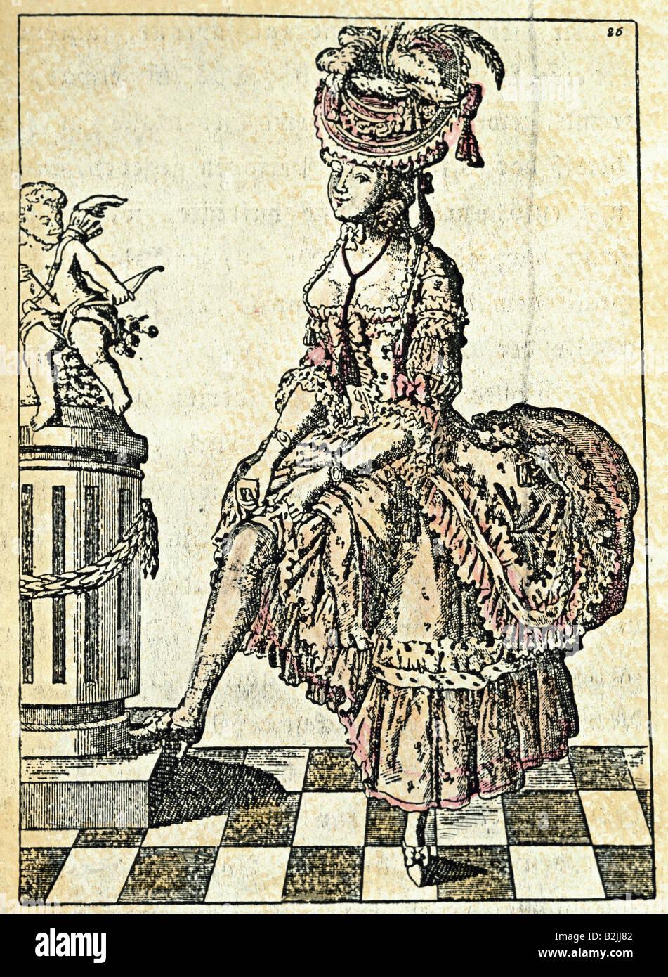Algunas personas, mujeres, 16 - siglo xviii, 'El coqueto', grabado, coloreado, Alemania, circa 1750, colección Imagen De Stock