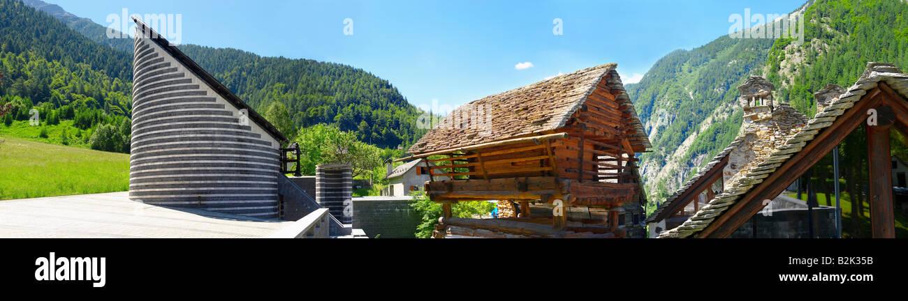 Exterior de la Iglesia de San Juan Bautista , Fusio Mogno , municipio de Lavizzara , Ticino , Val Maggiore , Suiza Foto de stock
