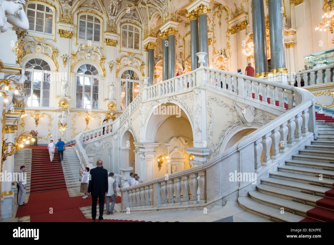 La escalera de Jordania, el Museo Estatal del Hermitage, San Petersburgo, Rusia Foto de stock