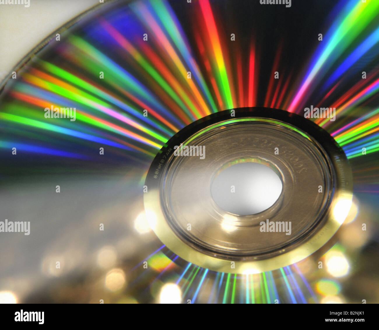 Concepto de tecnología: Vista cercana de CD Imagen De Stock