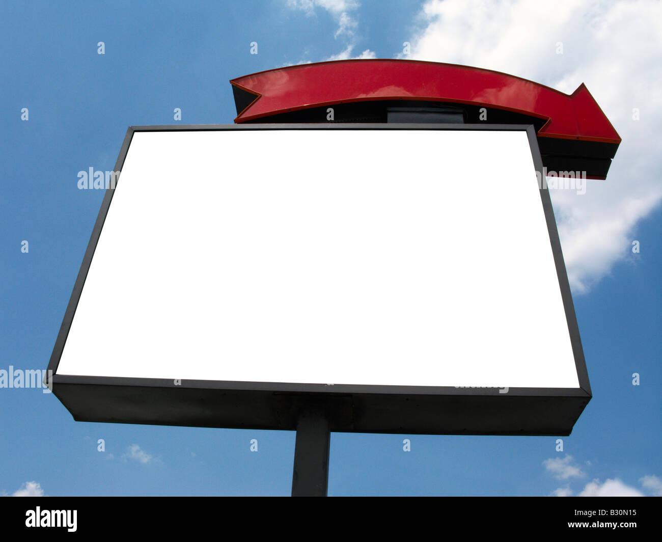 Firmar en blanco anuncio sky Imagen De Stock