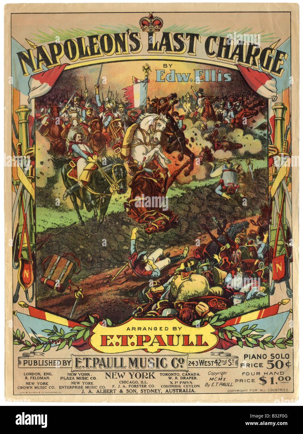 1910 partituras para Napoleon's último cargo. Imagen De Stock