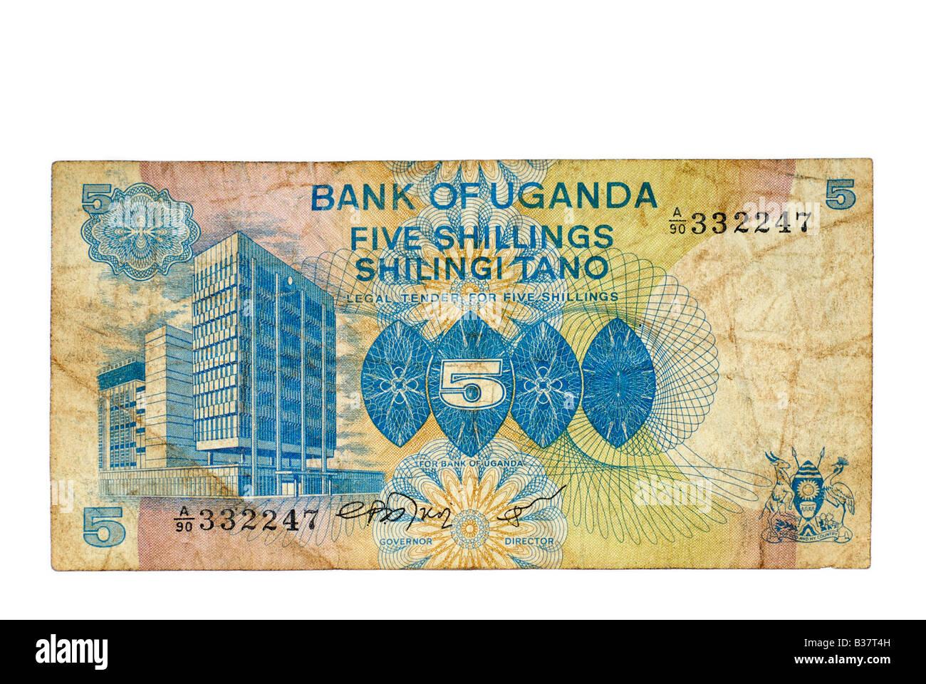 Utiliza Bank Note, Uganda 5 chelines, moneda de África oriental a partir de 1979 Imagen De Stock