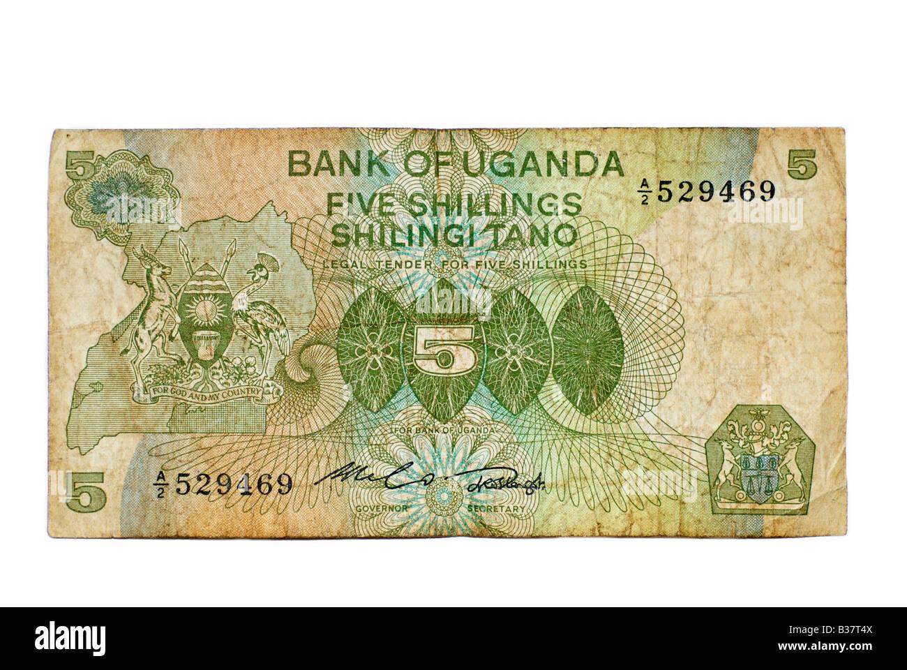 Utiliza Bank Note, Uganda 5 chelines, moneda de África oriental a partir de 1982 Imagen De Stock