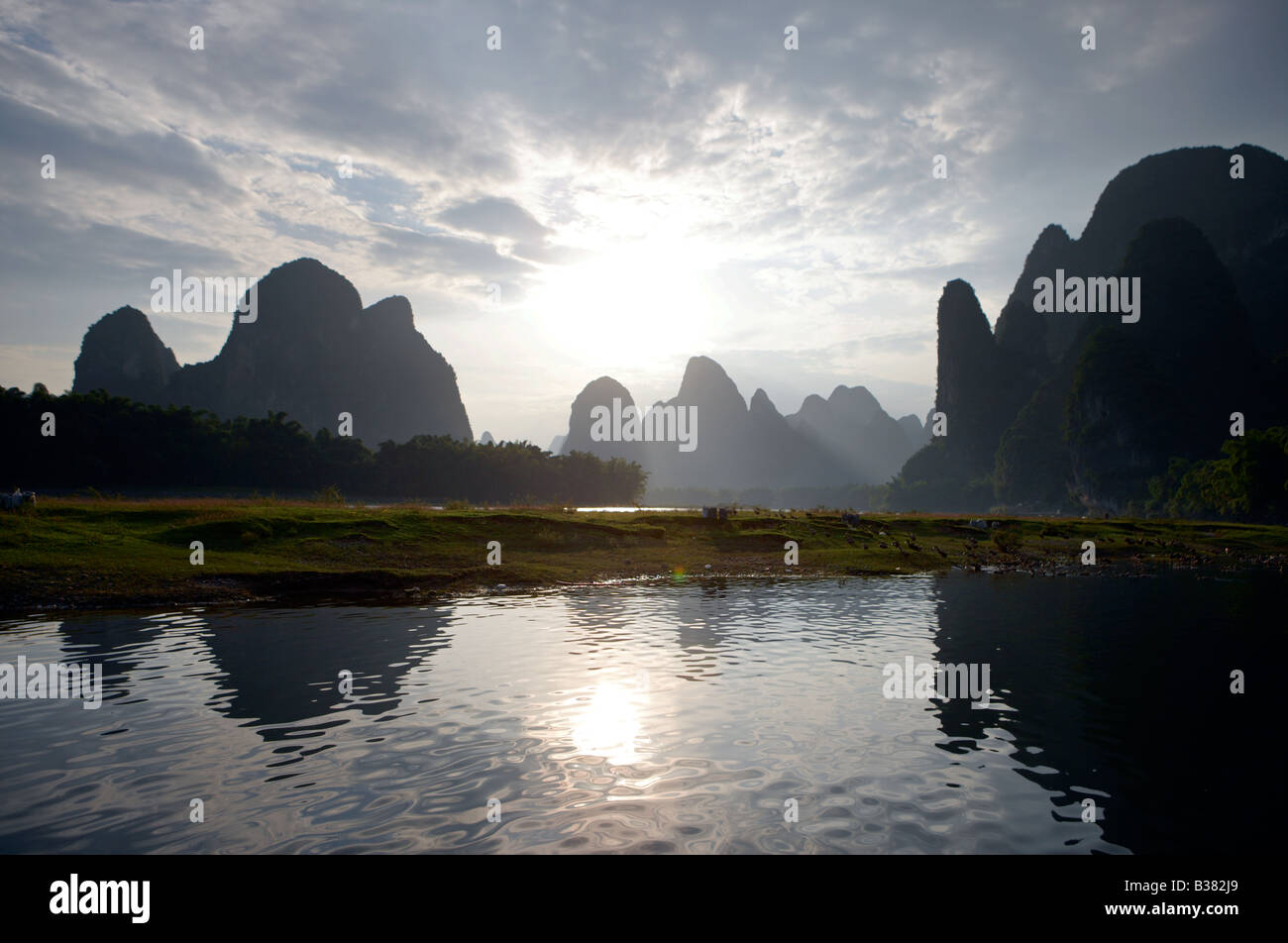 Xing Ping aldea del distrito de Guilin China Imagen De Stock