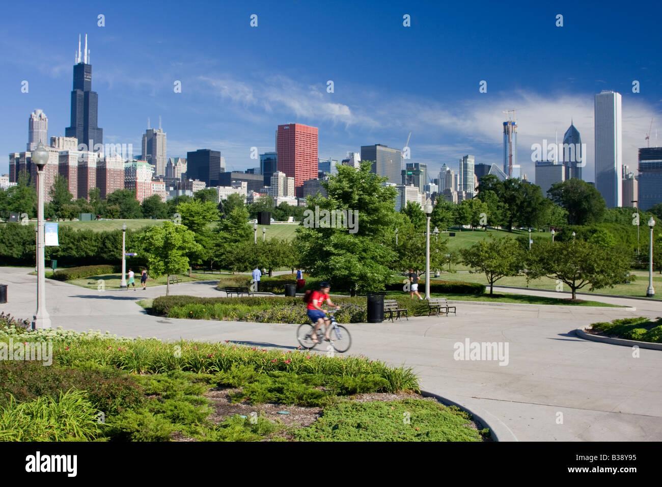 Chicago Illinois Skyline De Mañana Desde La Terraza Del