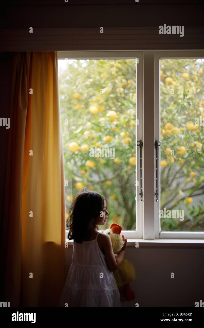 Muchacha envejecida 5 mira por la ventana sosteniendo un peluche pato Imagen De Stock