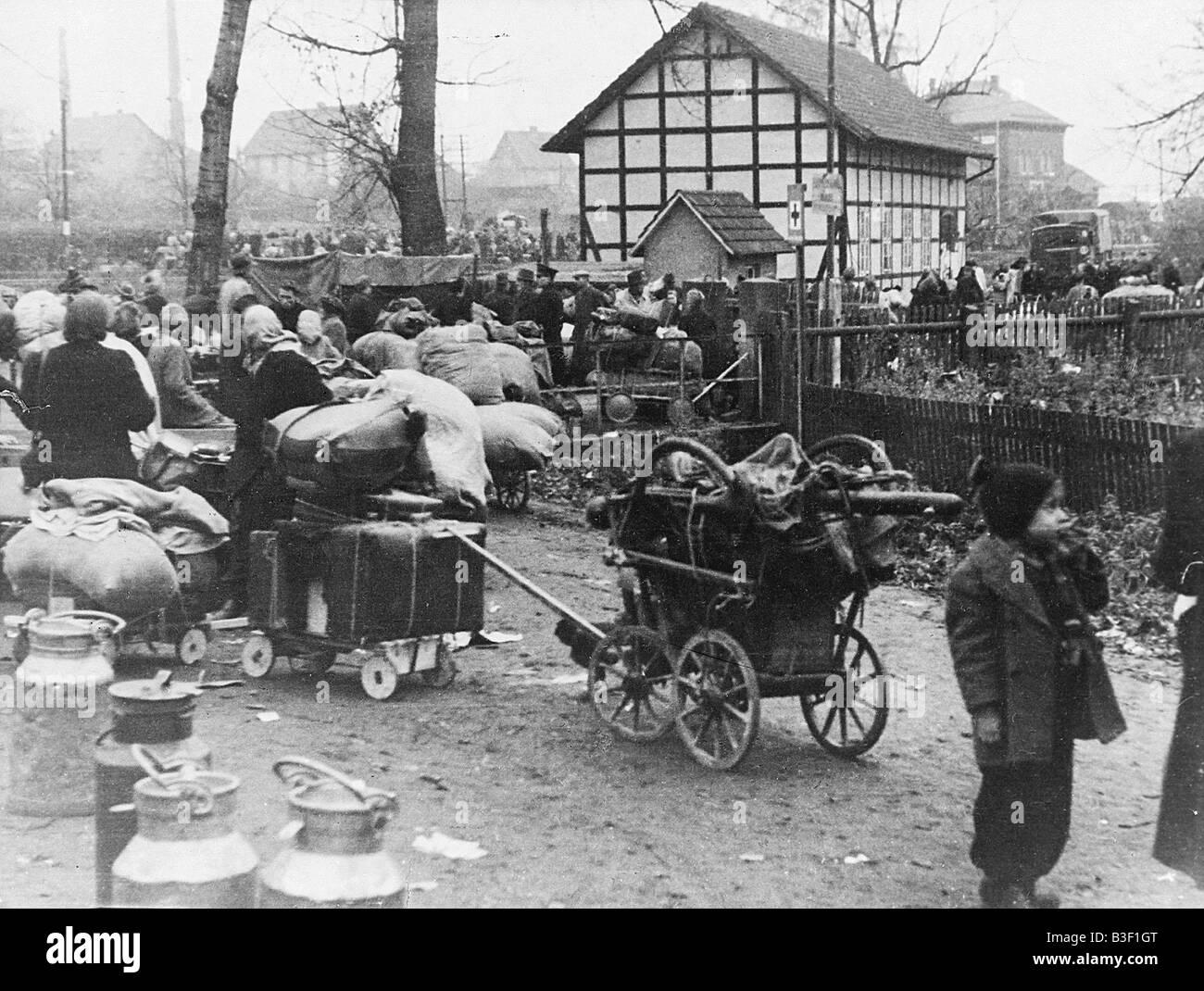 Segunda Guerra Mundial,refugiado treck Foto de stock
