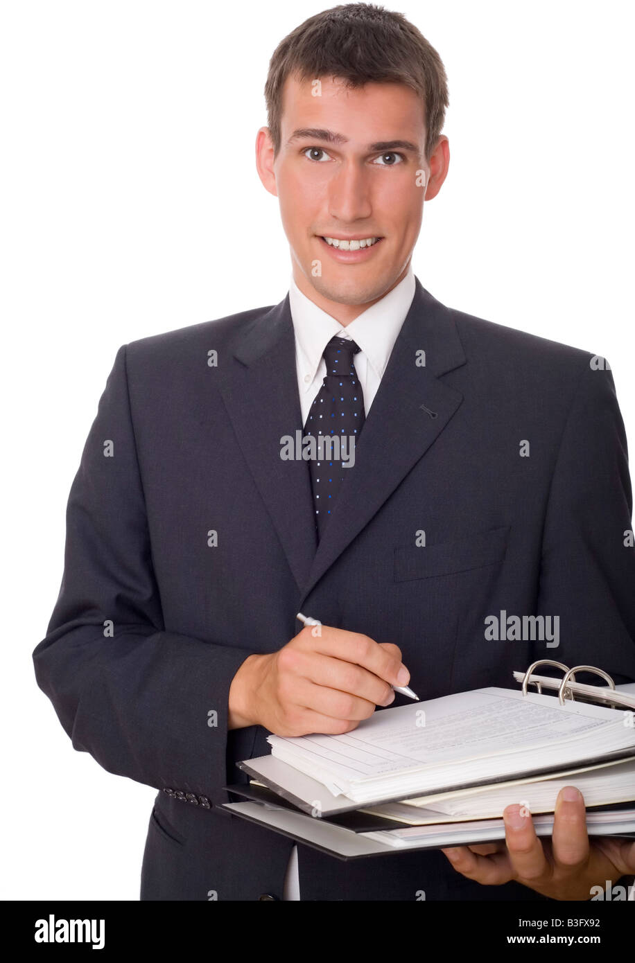 Hombre escribir notas Foto de stock