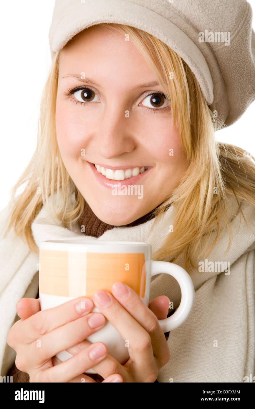 chica con té Foto de stock