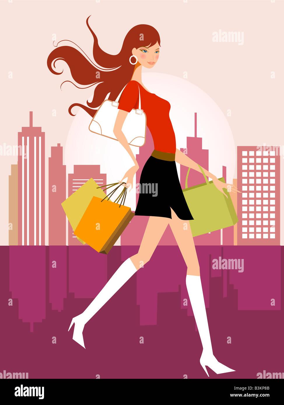 Ilustración dibujo de chica de compras Imagen De Stock
