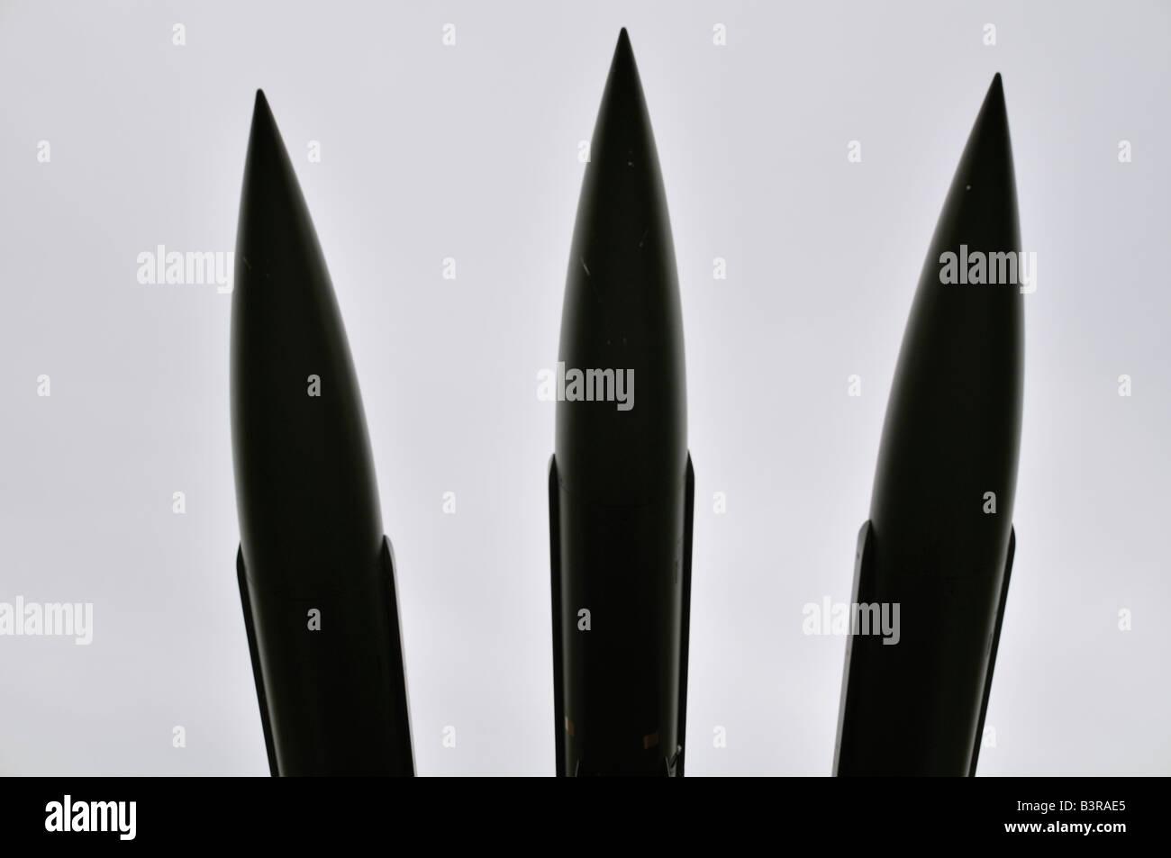 Un halcón de gama media americana de misiles superficie-aire visto en el Museo de la guerra fría Stevns Imagen De Stock