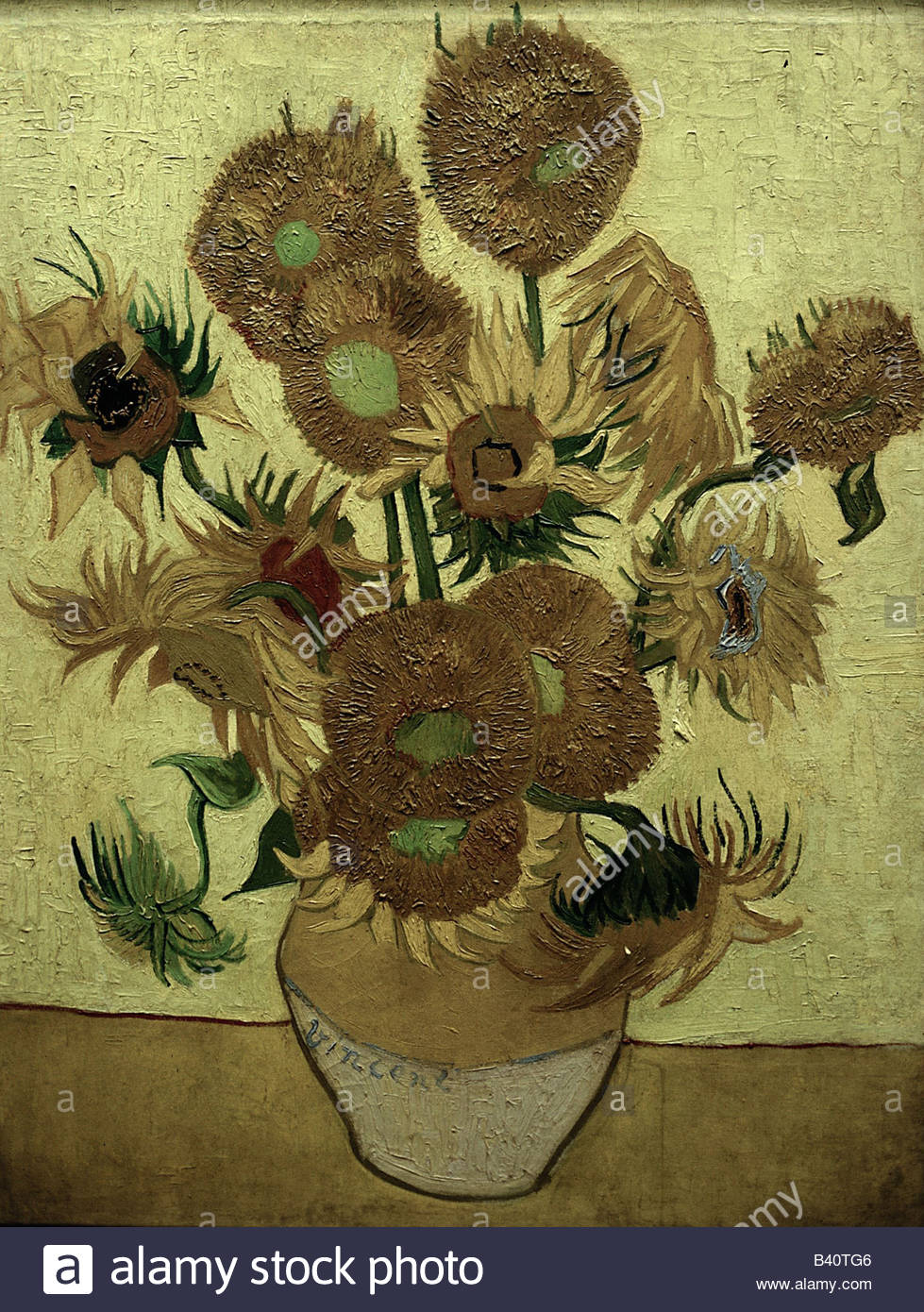 "Bellas artes, Vincent van Gogh (1853 - 1890), pintura, ""Catorce girasoles en un jarrón"", 1889, óleo Imagen De Stock"