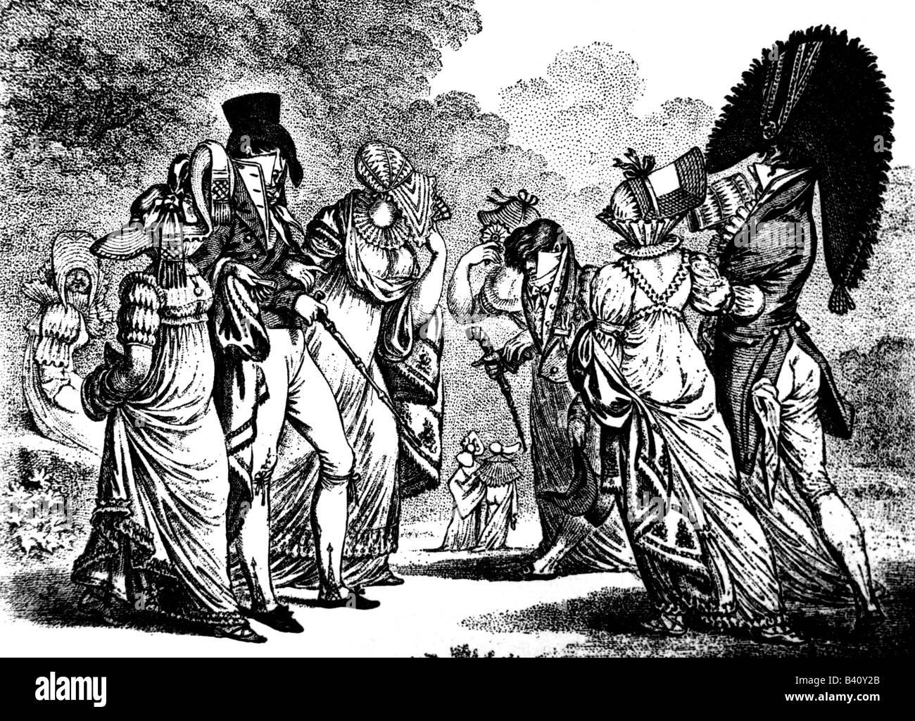 """La moda del siglo xix, señoras y mens moda, Gran Bretaña, la caricatura, """"los invisibles"""", grabado Imagen De Stock"""