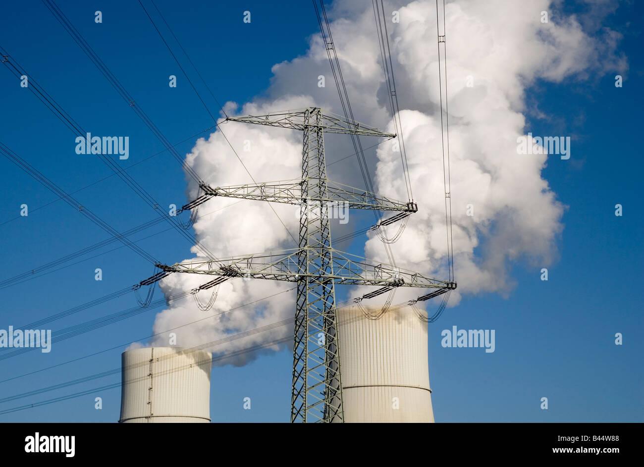 La primera planta de energía de carbón marrón en el worldwith separación de dióxido de Imagen De Stock