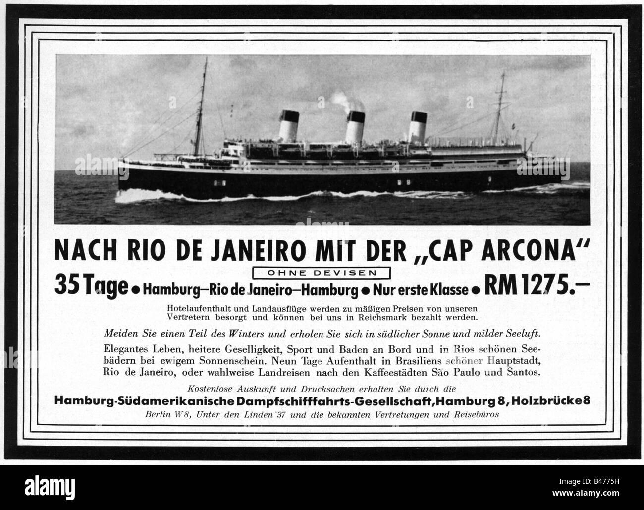 """Publicidad, turismo, viajes, viaje a Rio de Janeiro, Hamburg South American Steam Ship Company, anuncio, """"Atlantis"""", Imagen De Stock"""