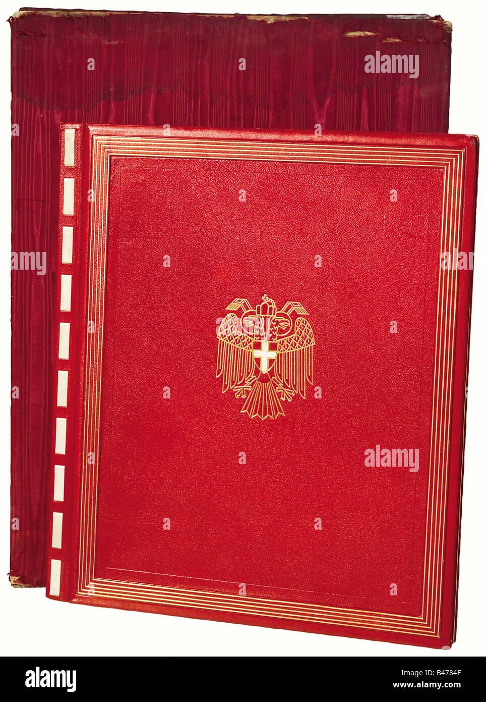Escritura de la lealtad de la ciudad de Viena, en ocasión del 10º aniversario de Hitler gubernamentales. Imagen De Stock