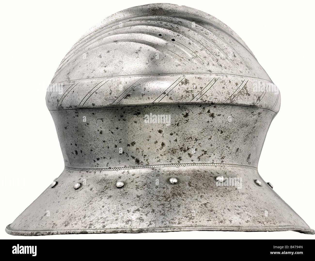 bfcd00d359b55 ... hervidor sombrero o casco o galea vintage antiguo grabado ilustración  grabada de hierro hat. X7T62H (RF). Un sombrero de guerra en hierro
