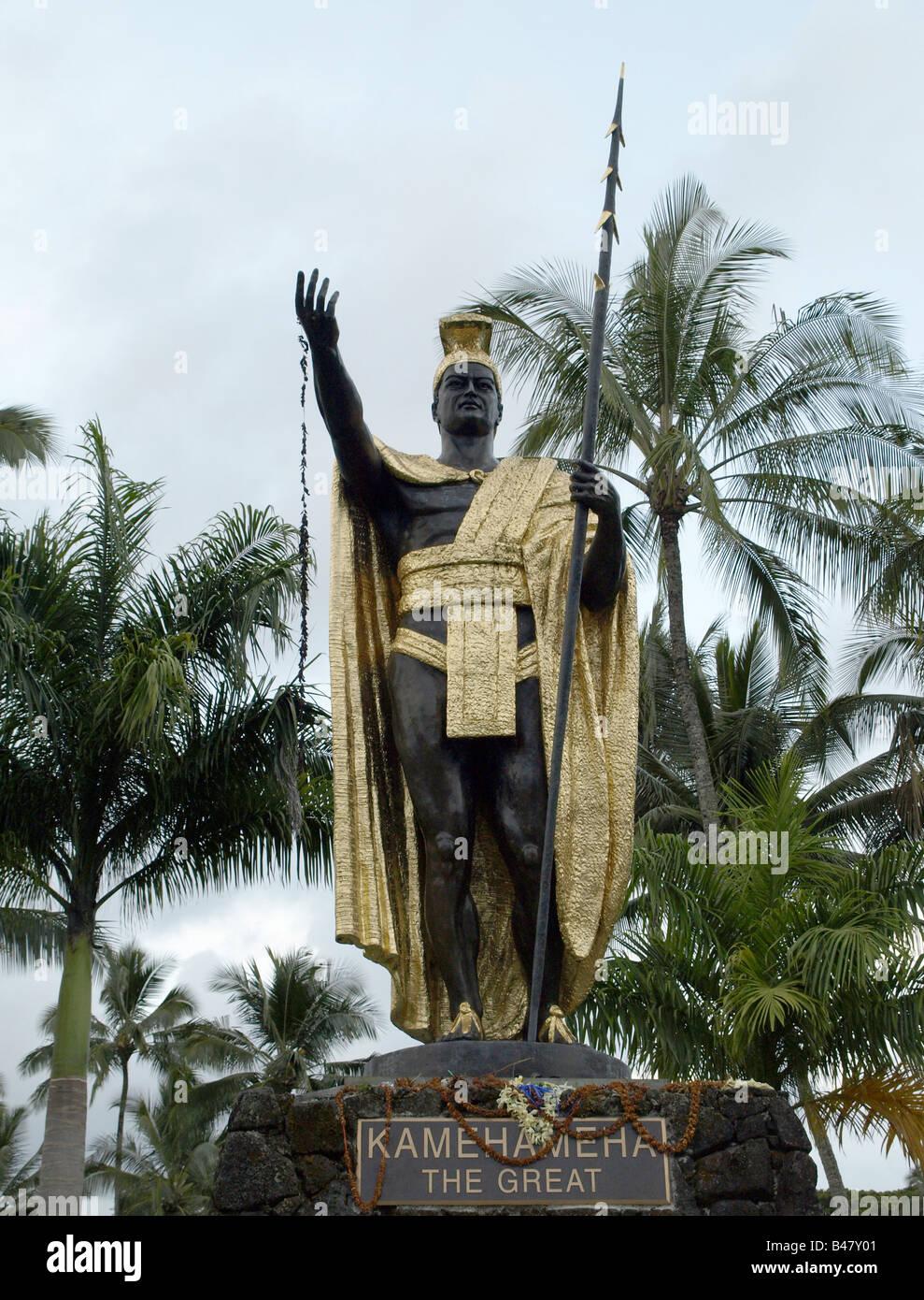 La estatua de Kamehameha el Grande , Big Island, Hawai Foto de stock