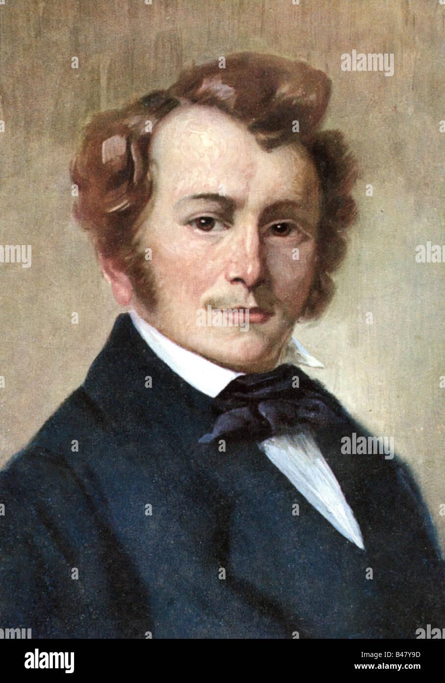 Lortzing, Albert, 23.10.1801 - 21.01.1851, el compositor alemán, retrato, pintura por Robert Einhorn, circa Imagen De Stock
