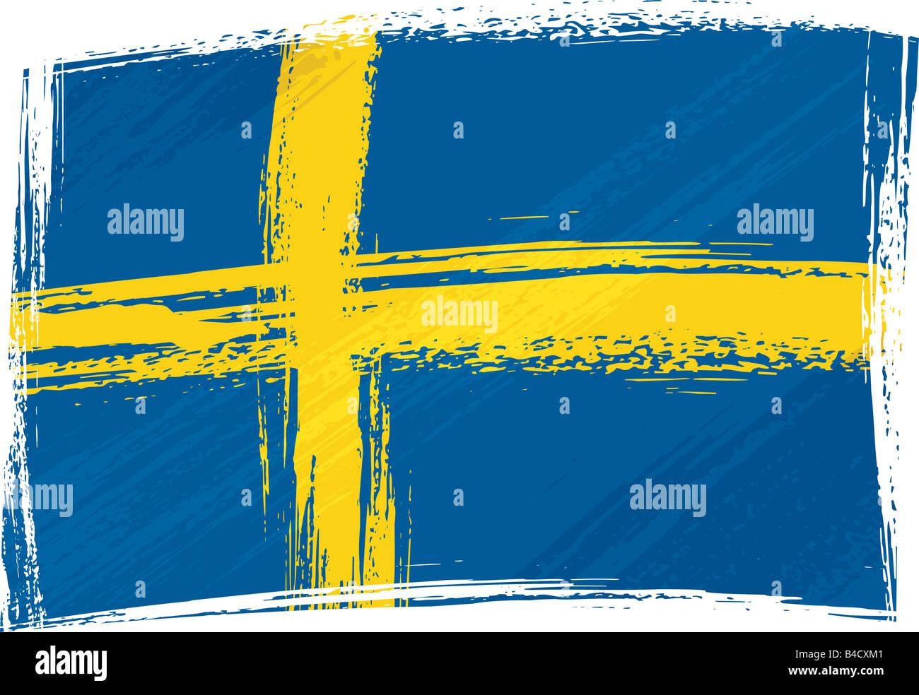 Grunge Suecia bandera Imagen De Stock