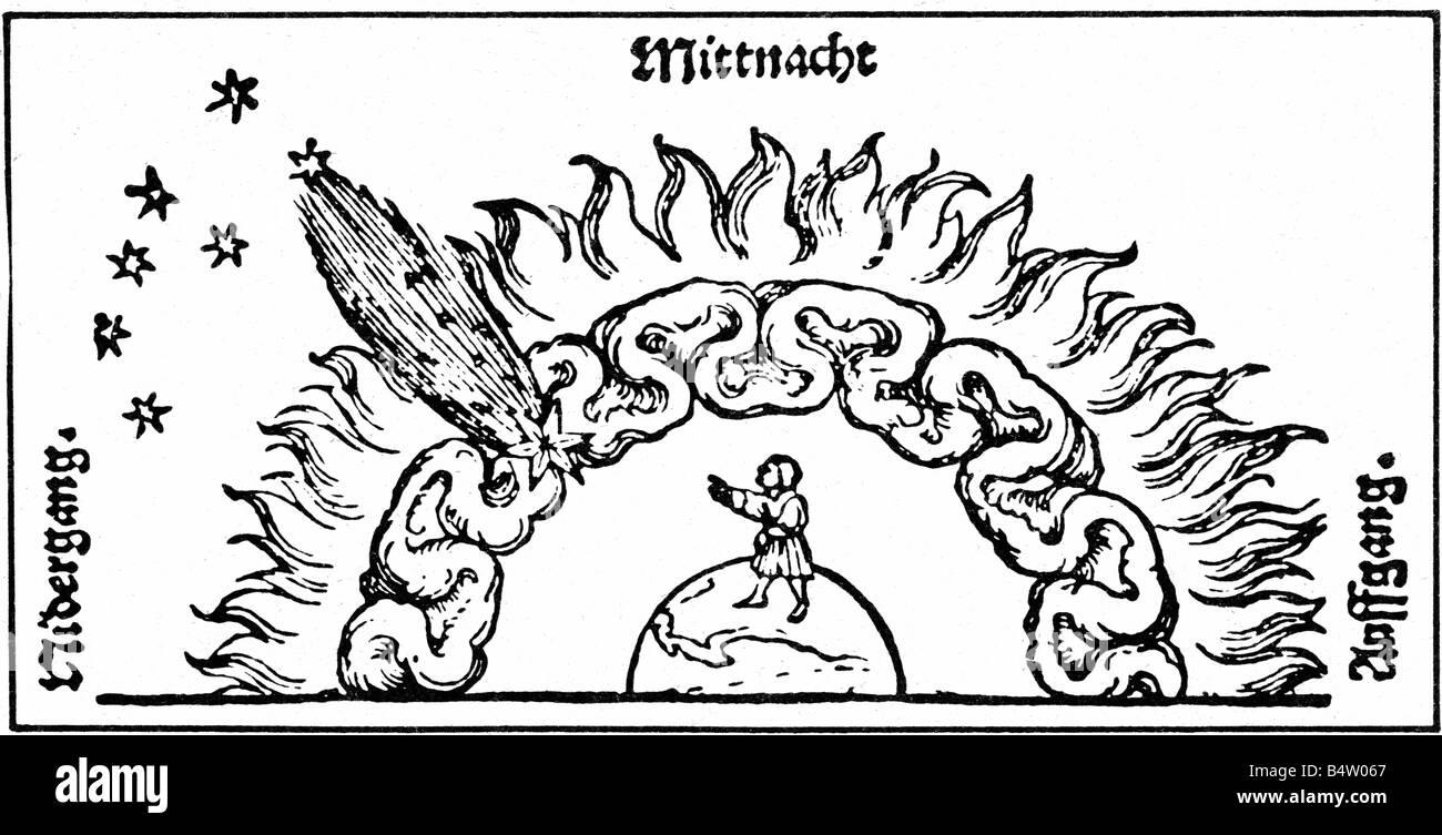 Astronomía, cometas, cometa en la atmósfera de las tierras, la xilografía después Johannes Schoener, Imagen De Stock