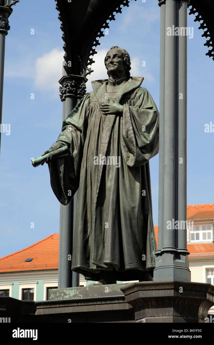 Melanchton memorial en el mercado en Wittenberg Foto de stock