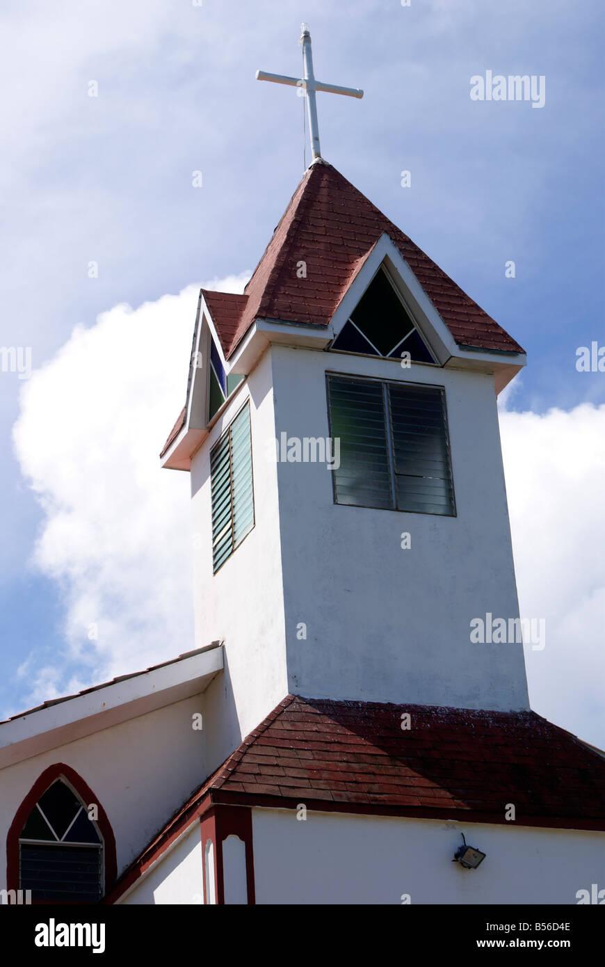 Ebeneezer Baptist Church en Big Corn Island, Nicaragua, Centroamérica Foto de stock