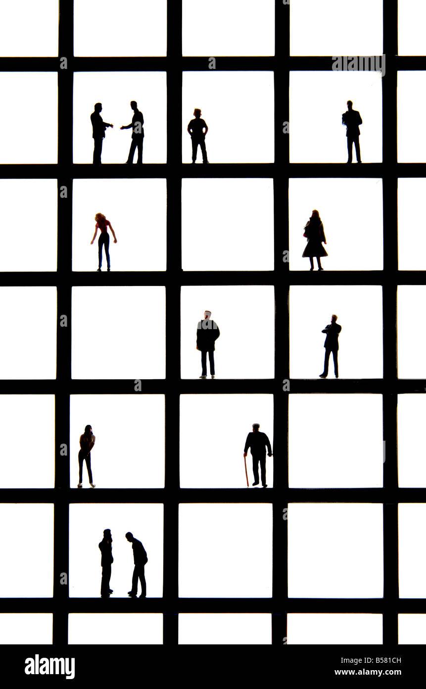 Imagen del concepto de la vida - tipos diferentes edades de gente / demografía / marketing / publicidad / encasilla Imagen De Stock