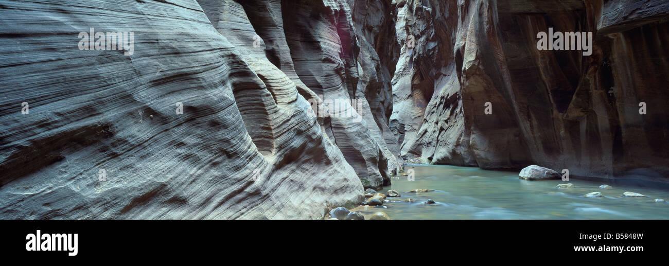 Virgen río que fluye a través de la Virgen se estrecha, el Parque Nacional de Zion, Utah, Estados Unidos de América, Foto de stock