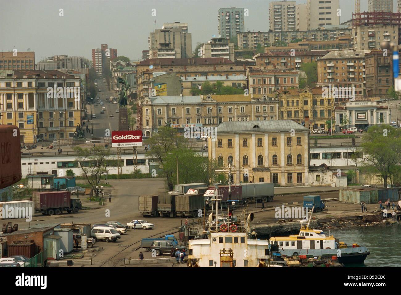 Sobre el puerto de la ciudad de Vladivostok, Extremo Oriente ruso Rusia Europa Imagen De Stock