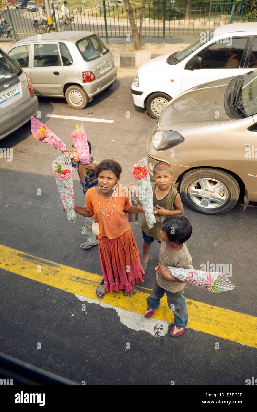 Los niños pobres en el steets de Delhi vendiendo flores para hacer dinero; en Nueva Delhi, India Imagen De Stock
