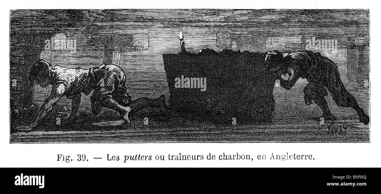 Los mineros del carbón infantil 1866 Grabado de los niños trabajadores moviendo el carbón desde el Imagen De Stock
