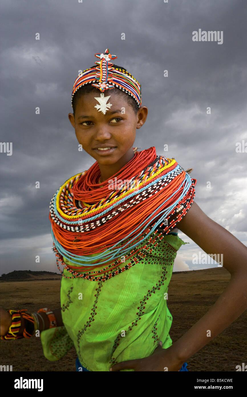 Chica de Samburu, Samburu Nationl Park, Kenya Imagen De Stock