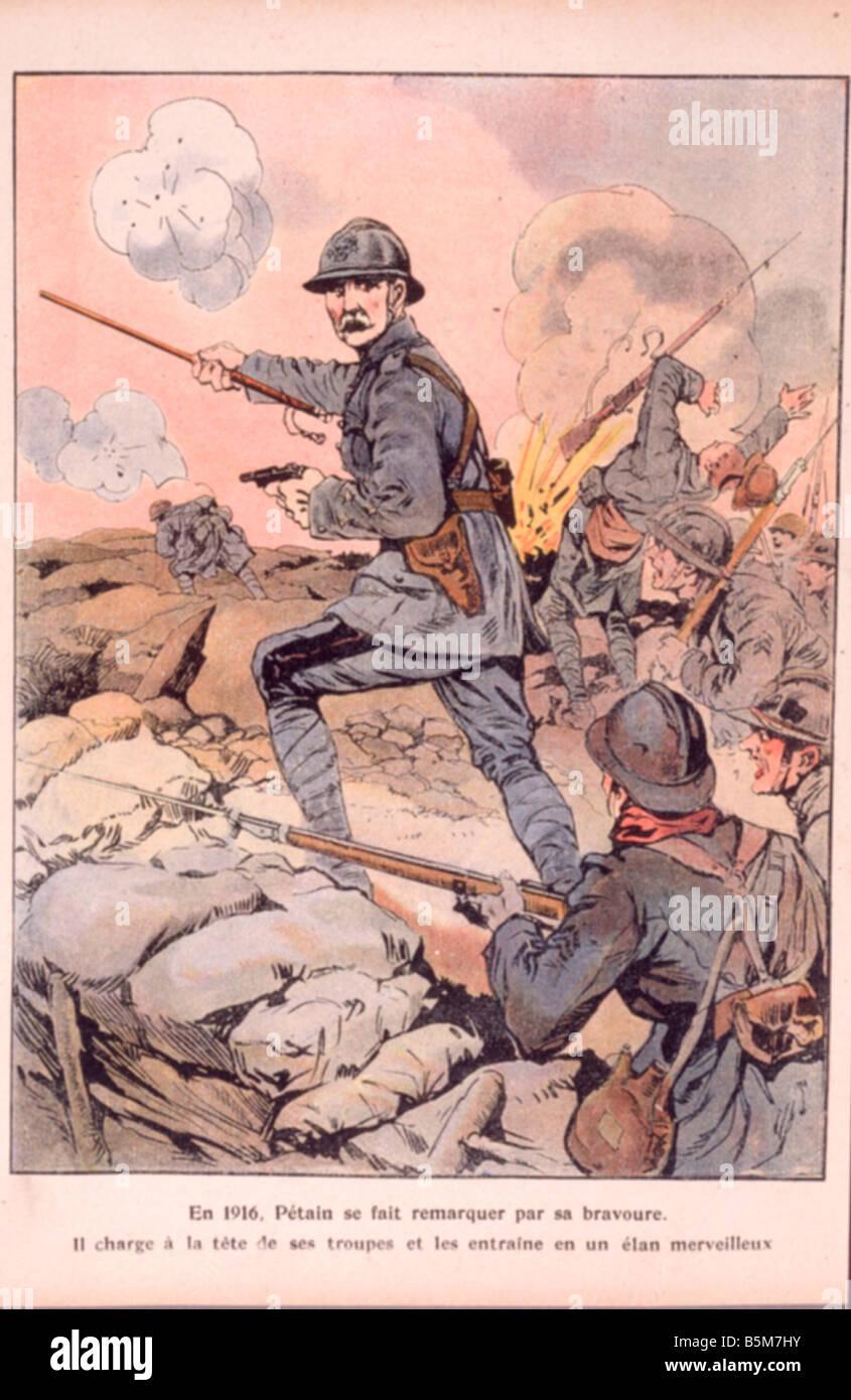 1FK 1101 E1916 E Mariscal Petain 1916 Impresión a color francés Philippe Petain mariscal y político Imagen De Stock