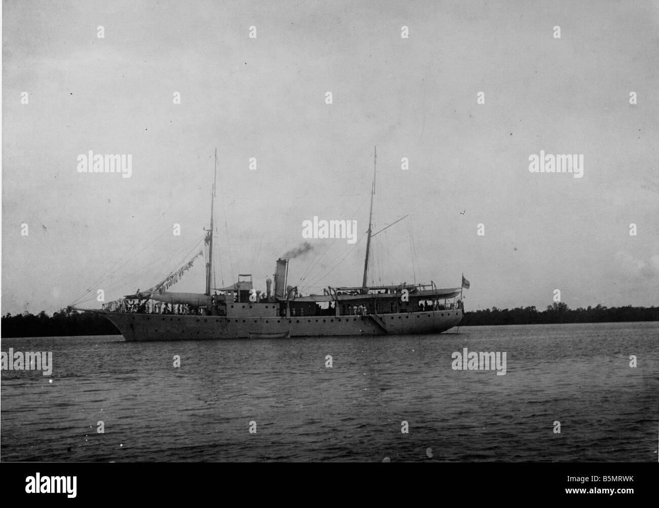 S M S Foto Rufidji Moewe en África Oriental Alemana ahora Tanzania como una colonia alemana 1884 1920 S M S Moewe en Rufidji Foto 1914 Foto de stock