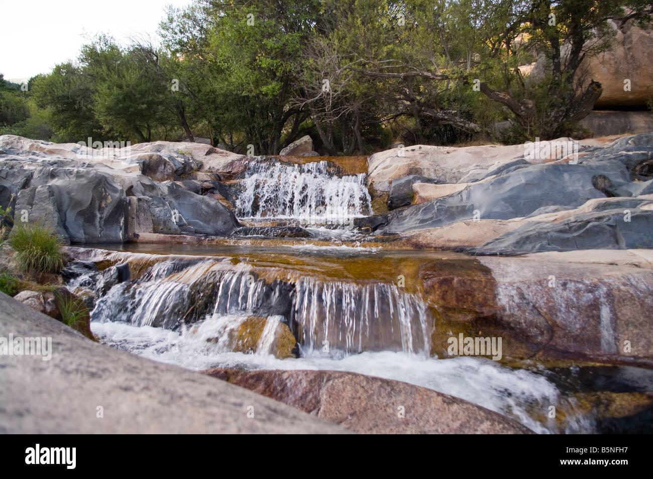 Cascadas en el Manzanares, cascada, el río Manzanares del Real, Madrid, España, UE Imagen De Stock