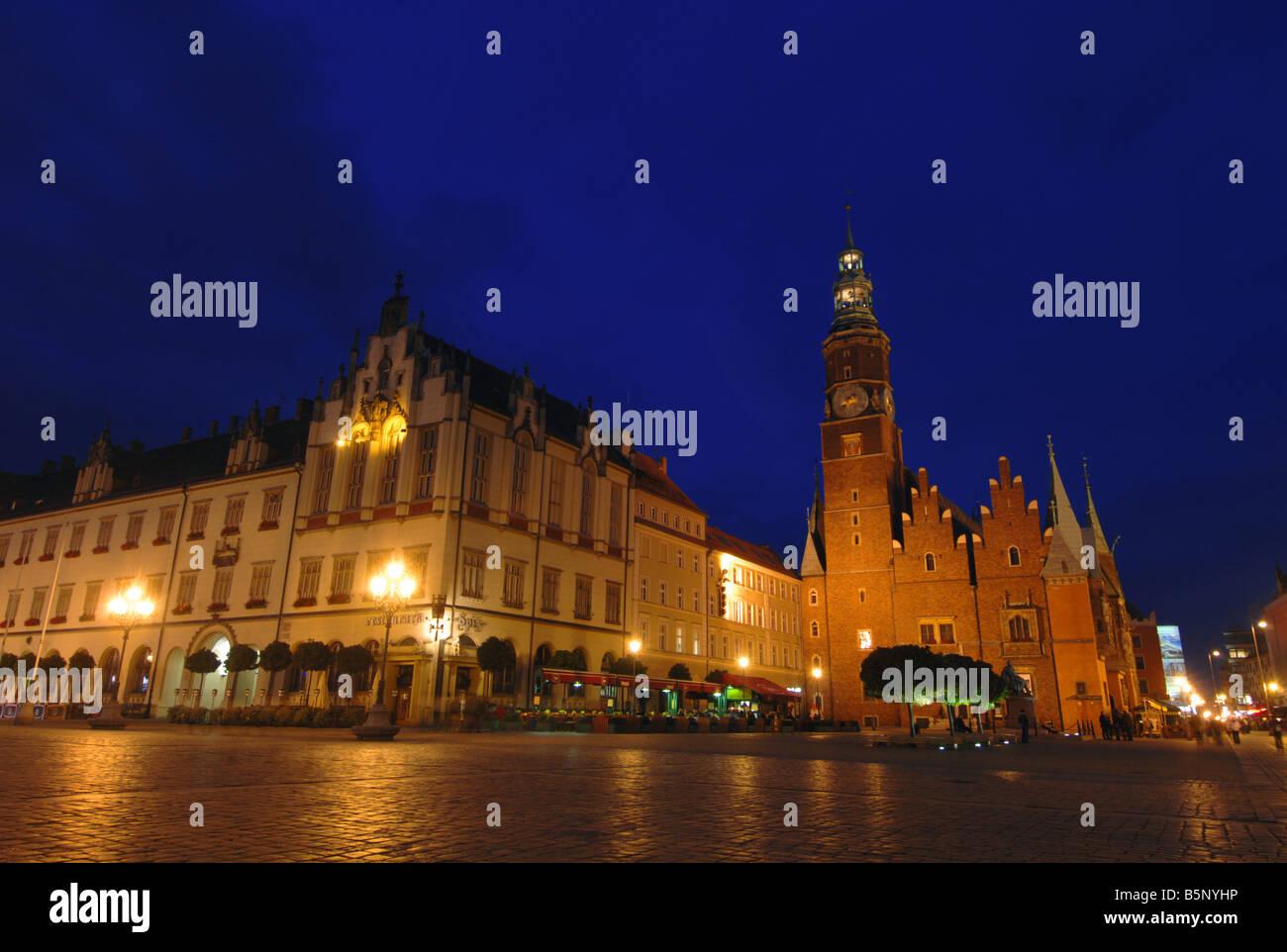 El Rynek Square, Wroclaw, Polonia Imagen De Stock
