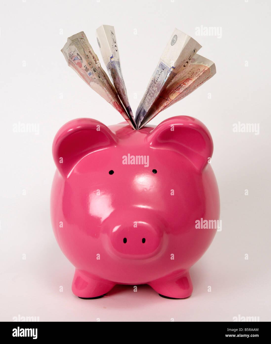 Una rosa hucha llena de Libra esterlina billetes de banco Foto de stock