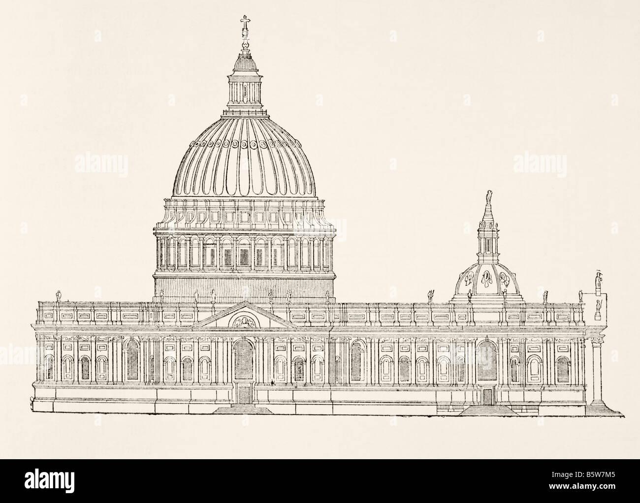 Christopher Wren s primer diseño para el nuevo St Paul s Cathedral después del Gran Incendio de Londres. Imagen De Stock