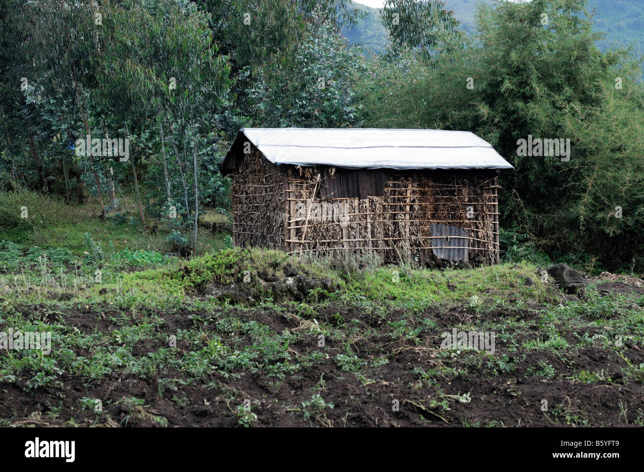 Una choza de barro tradicional típica casa inacabada está construyendo junto al parque nacional de los Imagen De Stock