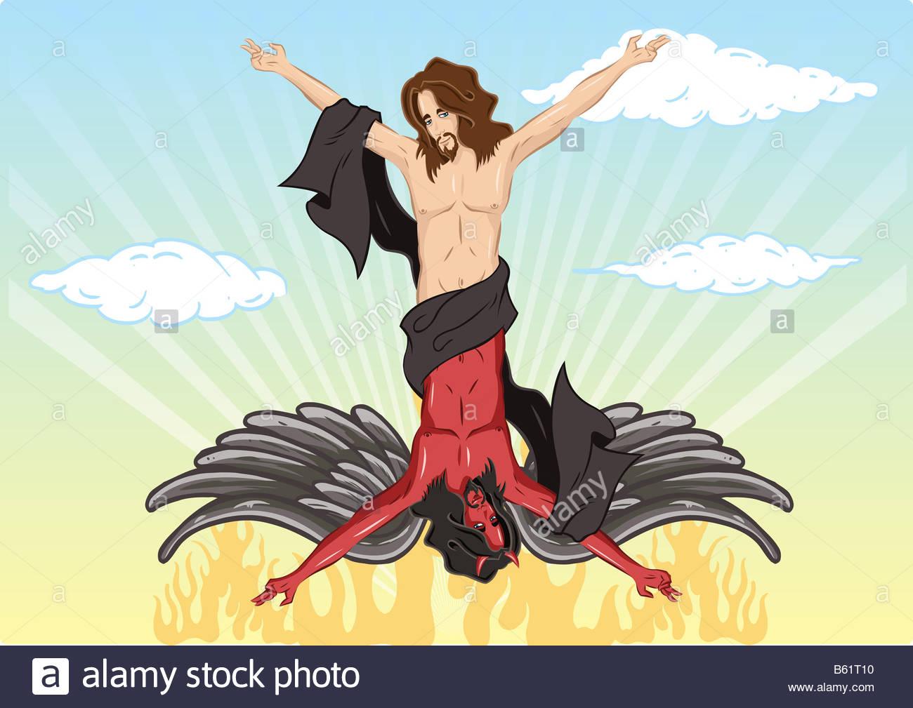 La dualidad hombre cartoon ilustración Imagen De Stock